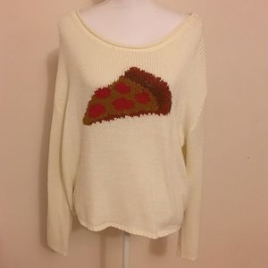 Urban Outfitters BDG Cream Pizza Party Sweater M